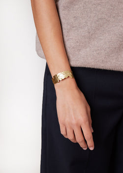 Abstract Hammered Cuff in Gold