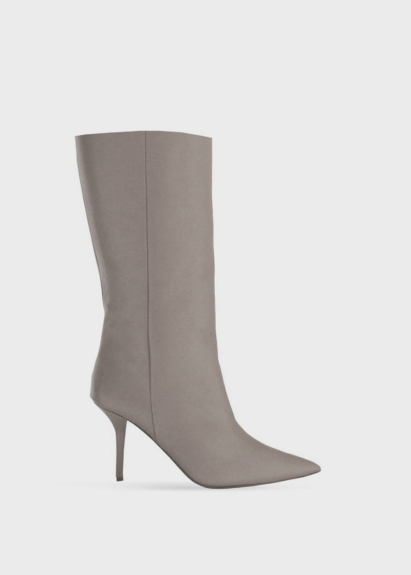 GIA x Pernille Teisbaek Pointed Leather Boots-Grey
