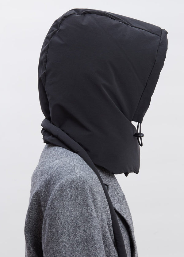 Padded Nylon Hood by KASSL Editions in Oil Velvet Black