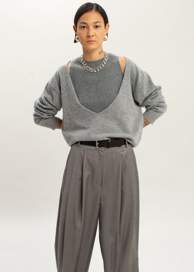 Low Deep V-Neck Boxy Sweater in Heather Grey