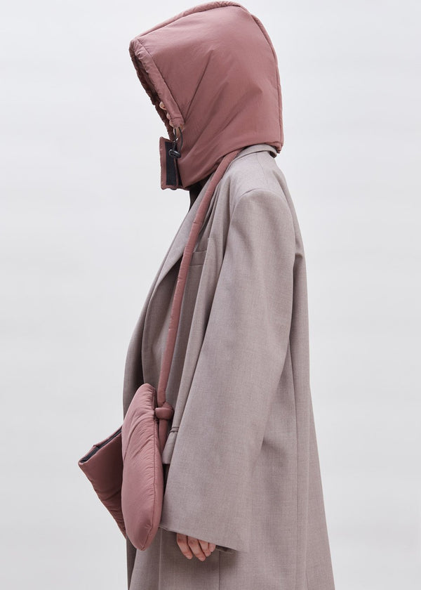 Padded Nylon Hood by KASSL Editions in Red Clay