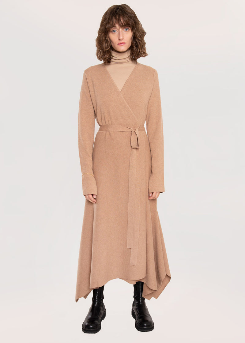 Katalina Knit Wrap Dress by Rodebjer in Camel