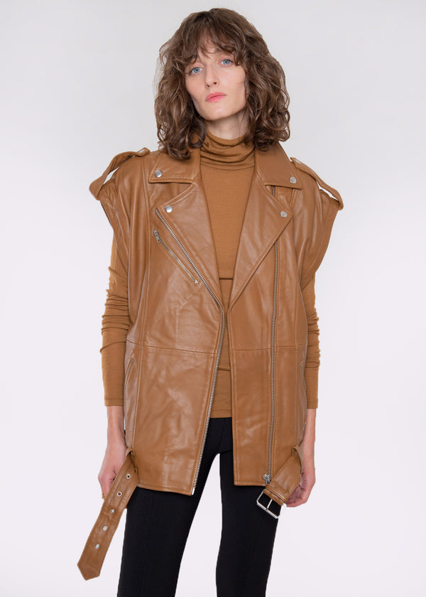 Lenda Detachable Sleeve Leather Jacket by Gestuz in Rubber