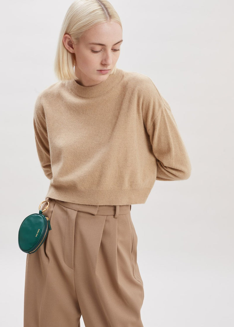 Cropped Crewneck Sweater in Latte