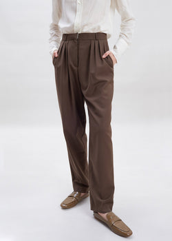 Straight Leg Pleat Front Trousers in Dark Chocolate
