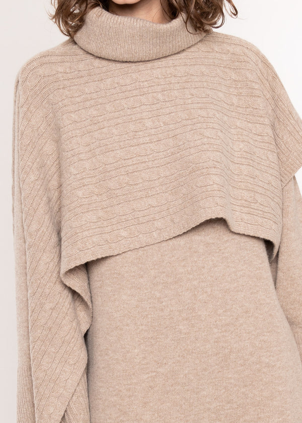 Cable Knit Roll Neck Poncho Wrap in Mushroom