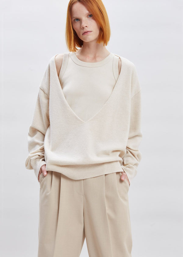 Low Deep V-Neck Boxy Sweater in Sesame