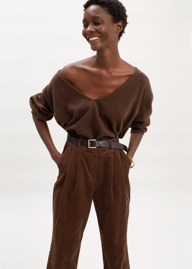Corduroy Pleat Front Trousers in Chocolate