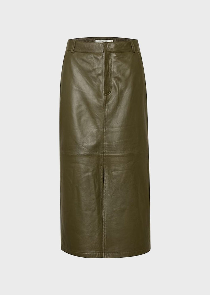 Alana Leather Midi Skirt by Gestuz in Dark Olive