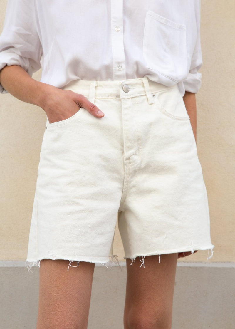 Frayed Edge Denim Shorts in Eggshell Shorts Love you so Much