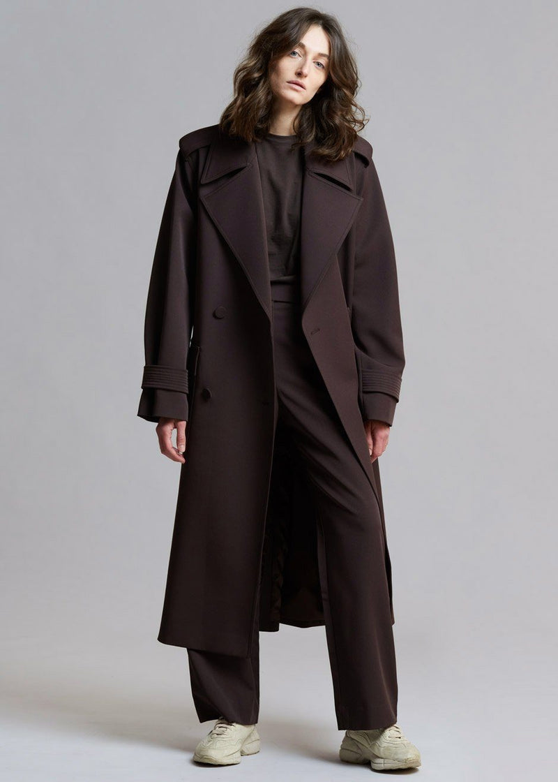 Gabardine Double Breasted Suit Trench in Java Coat 3.another