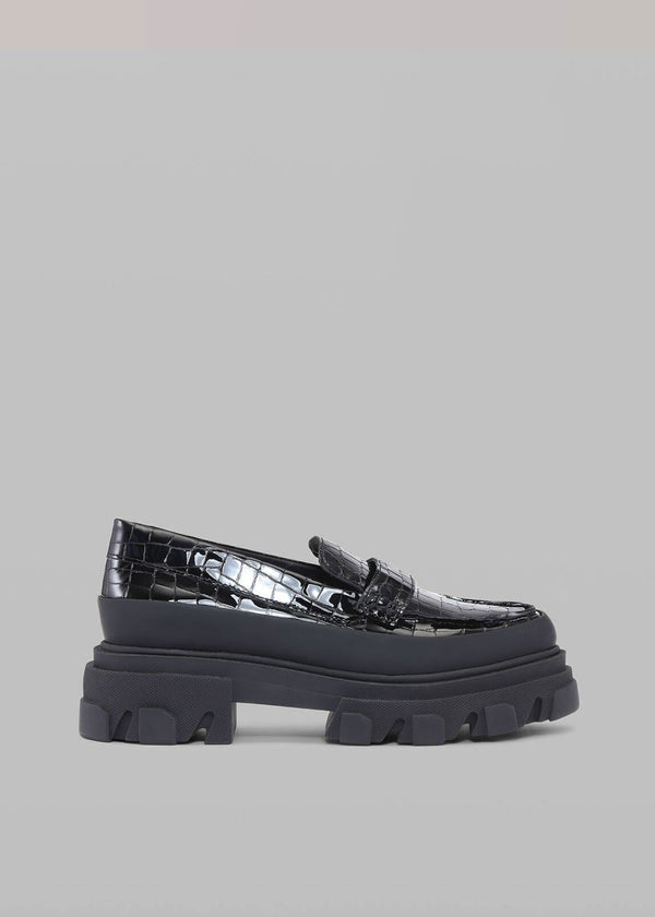GANNI Belly Croc Chunky Loafer in Black Shoes Ganni