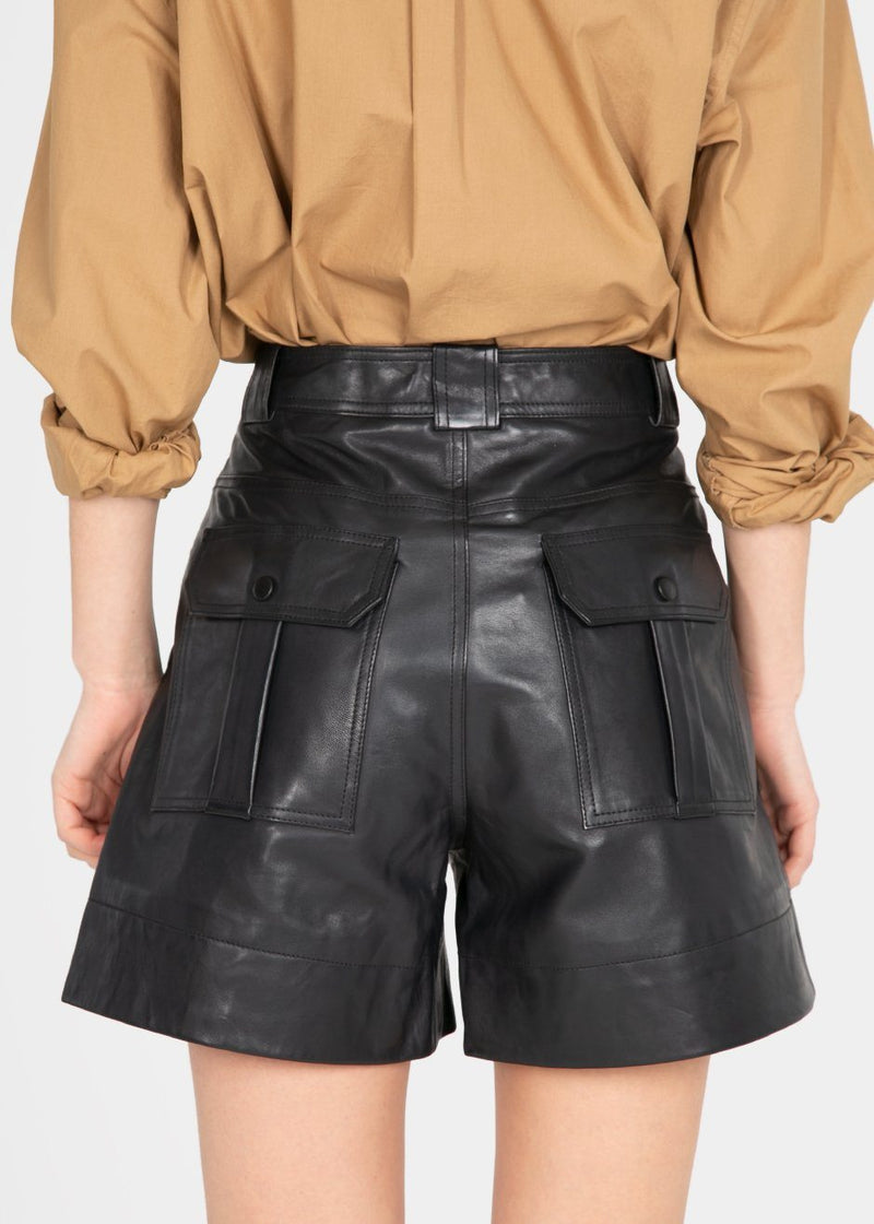 Ganni Leather Shorts- Phantom Black Shorts Ganni