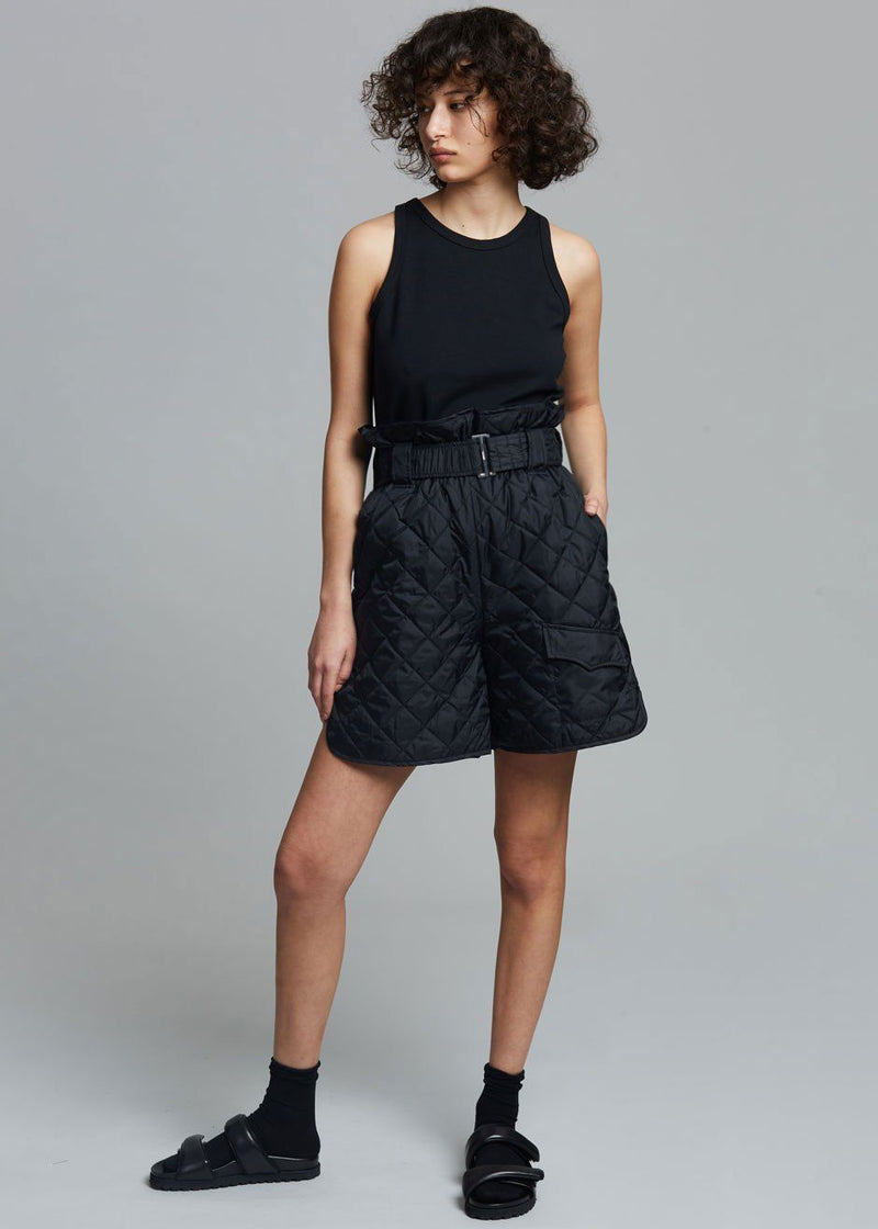 GANNI Recycled Ripstop Quilted Shorts in Black