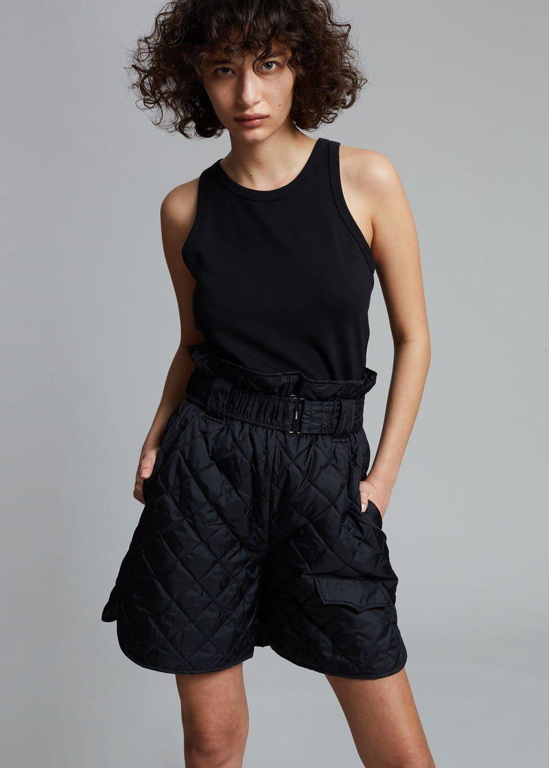 GANNI Recycled Ripstop Quilted Shorts in Black Dress Ganni