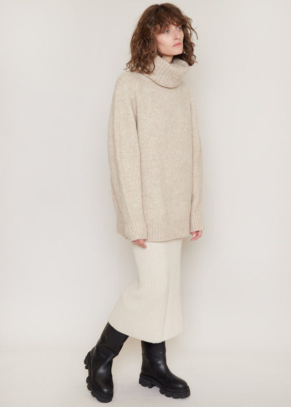 Giara Sweater by Loulou Studio in Beige Melange Sweater Loulou Studio