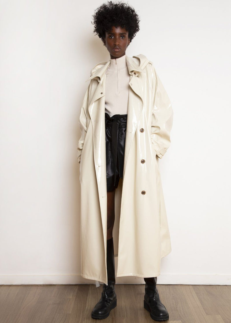Glossy Patent Hooded Trench Parka in Buttercream Coat The Frankie Shop