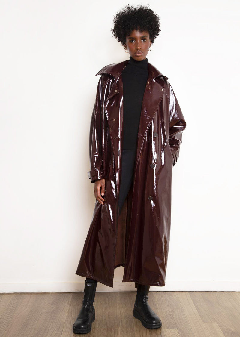 Glossy Patent Hooded Trench Parka in Merlot