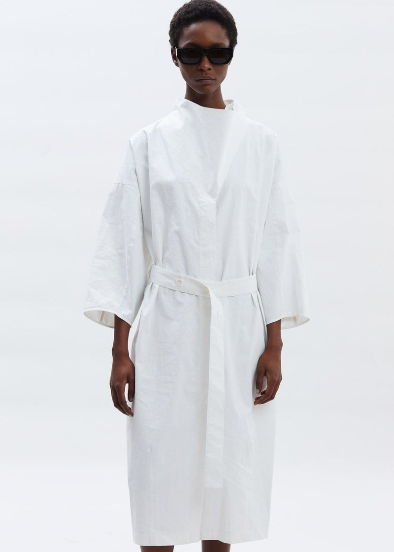 Guillemx Wrap Neck Belted Dress Aeron in White Dress Aeron