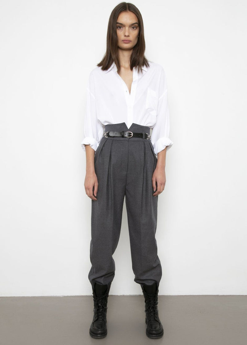 High Rise Belted Trousers in Charcoal Pants Stage