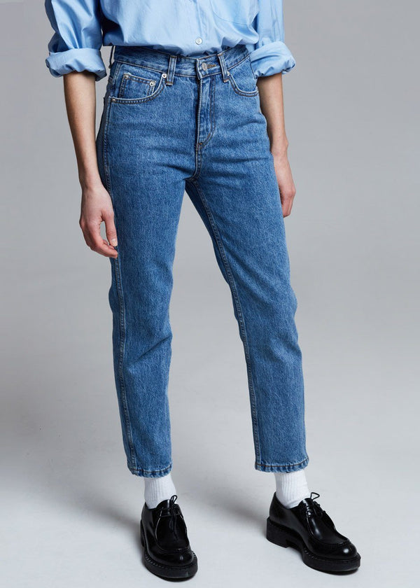 High Rise Slim Tapered Jean in Worn Wash Pants breathe