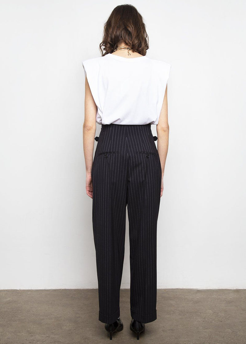 High Waist Belted Stripe Pants by Push Button Pants Push Button