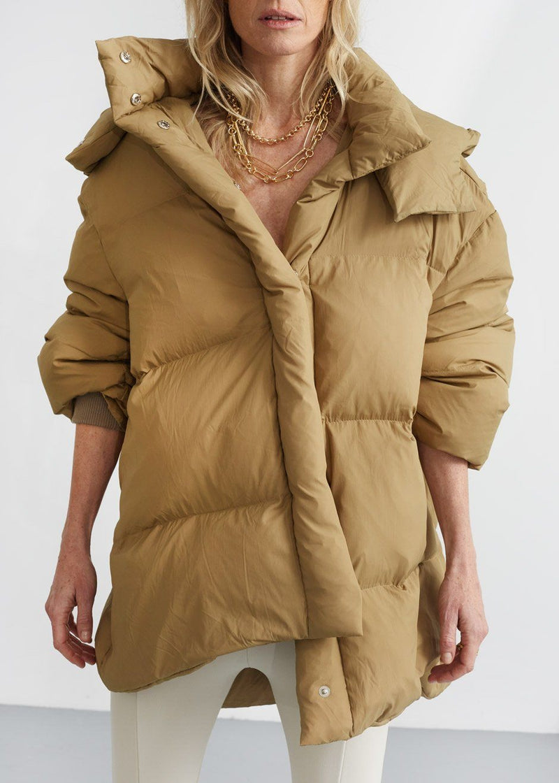Hooded Mid Length Puffer in Dijon Jacket money packing