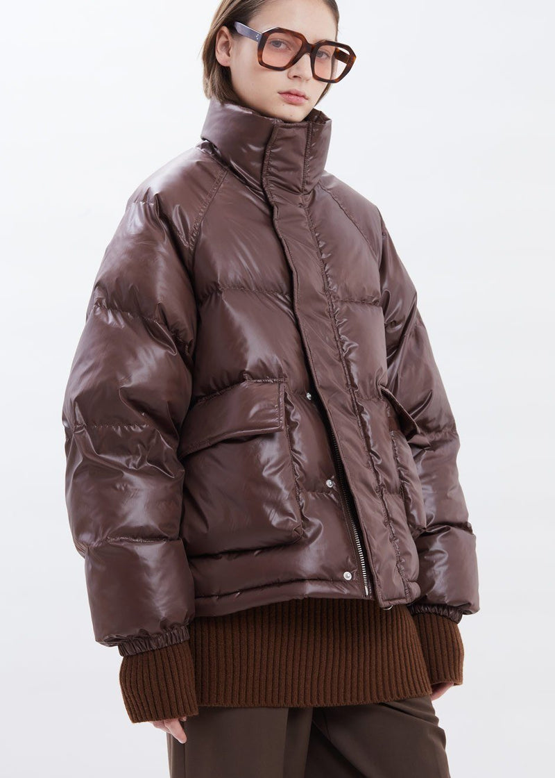 Hoodless Pocket Front Puffer in Chocolate Jacket 3.another