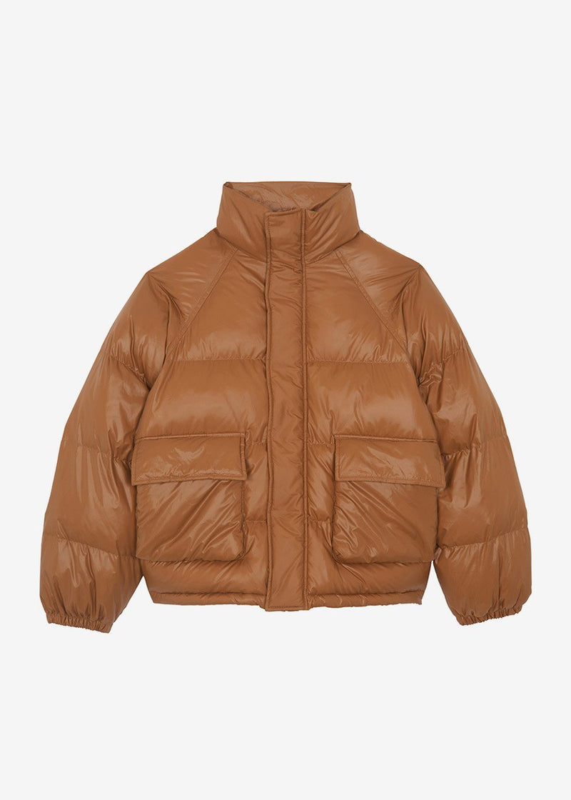 Hoodless Pocket Front Puffer in Spice Jacket 3.another