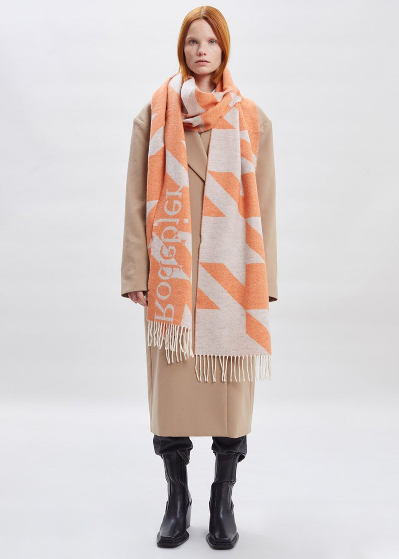 Houndstooth Scarf by Rodebjer in Sharp Orange Scarf Rodebjer