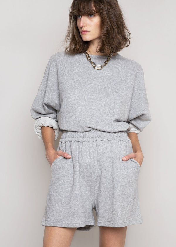 Jaimie Cotton Top and Shorts Set in Light Grey Set The Frankie Shop