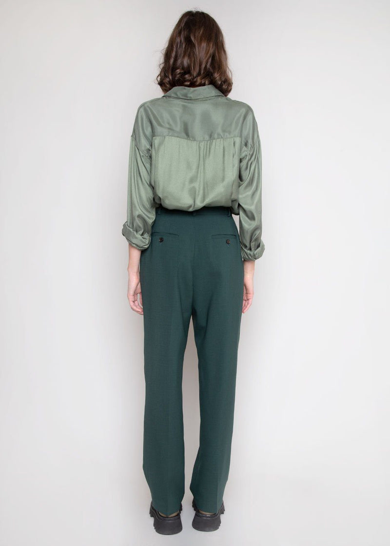 Juliette Satin Blouse in Thyme Top The Frankie Shop