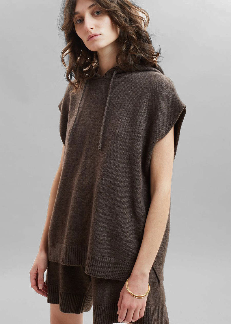 Juno Sleeveless Knit Hoodie - Oak