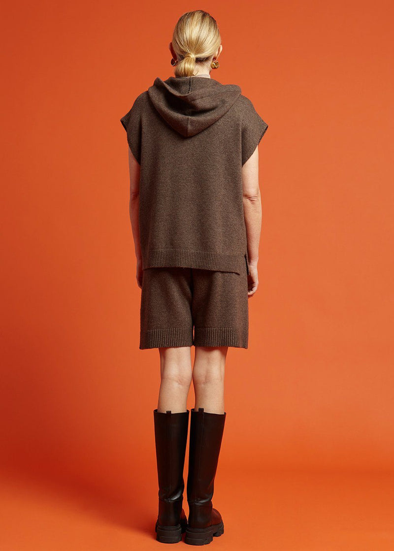 Juno Sleeveless Knit Hoodie - Oak Top The Frankie Shop