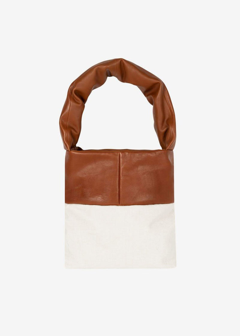 KASSL Editions Monk Medium Tote Bag - Cognac/White