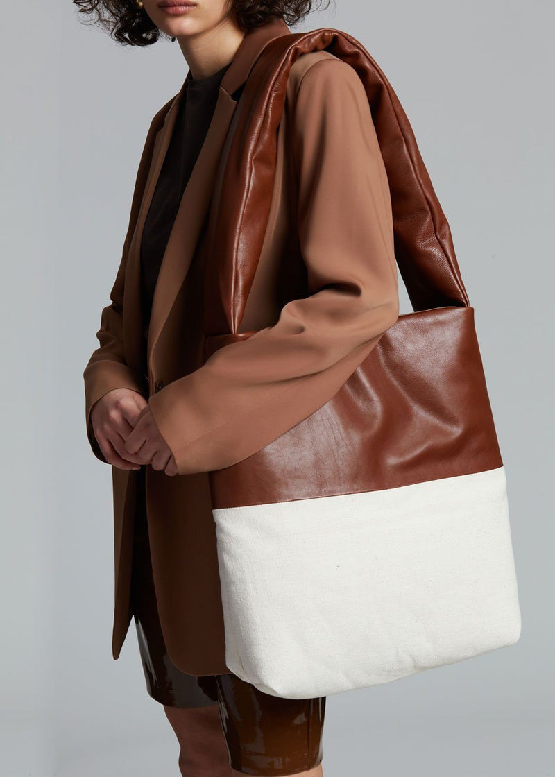 KASSL Editions Monk Medium Tote Bag - Cognac/White Bag KASSL Editions
