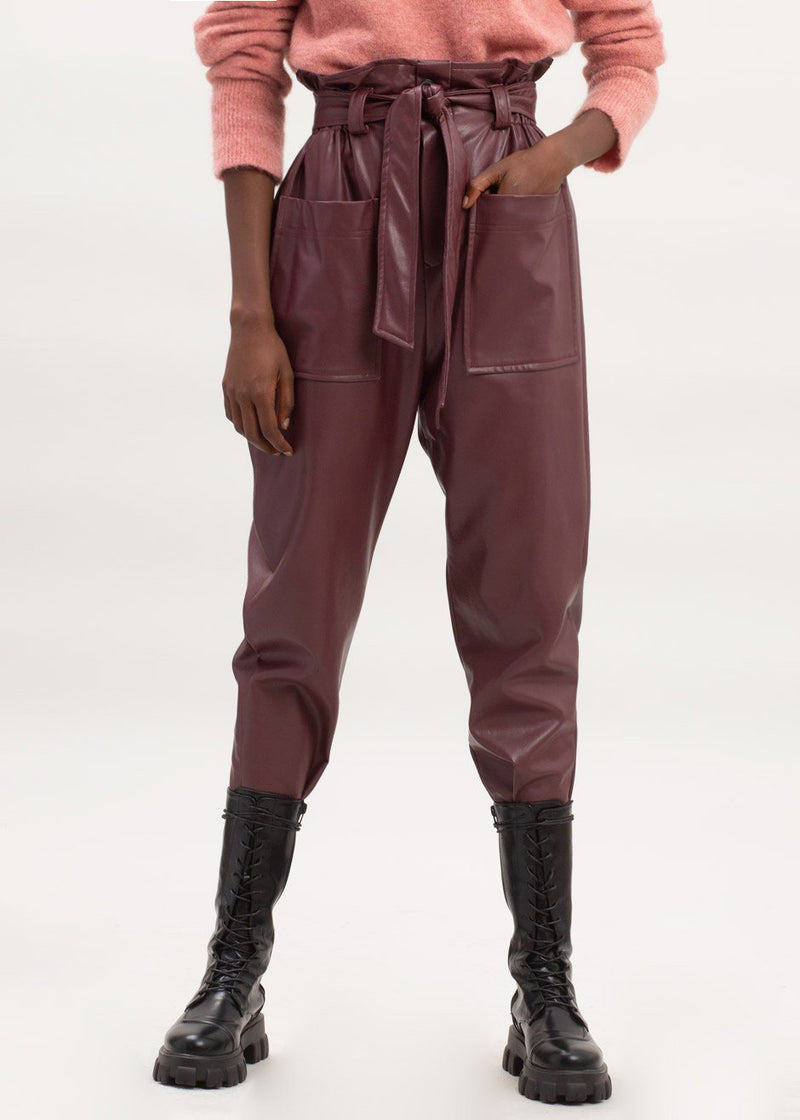 Kate High Waist Paperbag Pants in Bordeaux