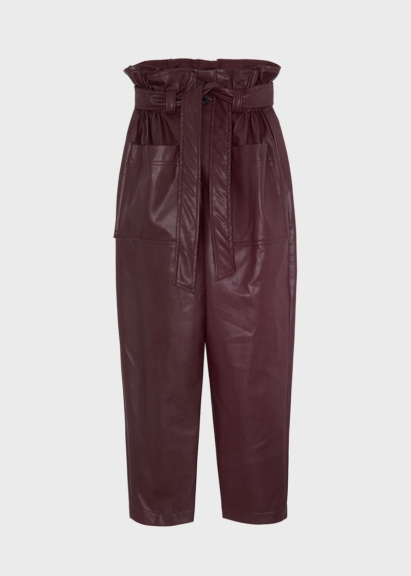 Kate High Waist Paperbag Pants in Burgundy Pants The Frankie Shop