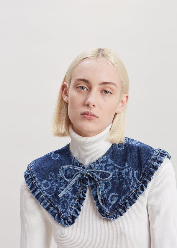 Laser Denim Collar by GANNI in Blue Collar Ganni