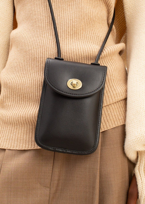 Leather Phone Pouch in Black Bag The Frankie Shop