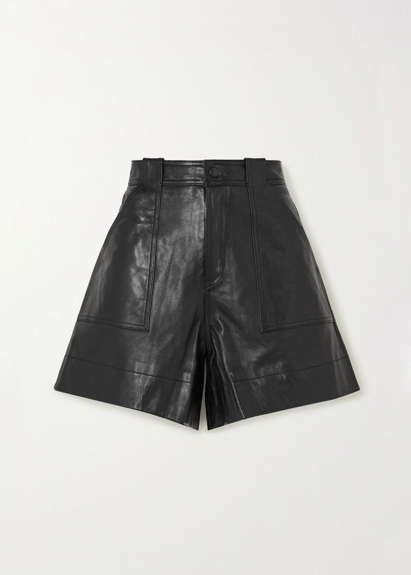 Leather Shorts by GANNI in Black Shorts Ganni