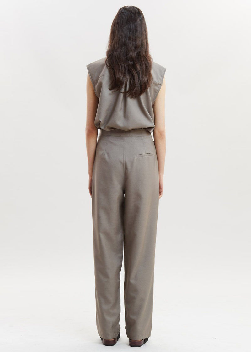 Leeja High Waisted Pants by Gestuz in Brindle