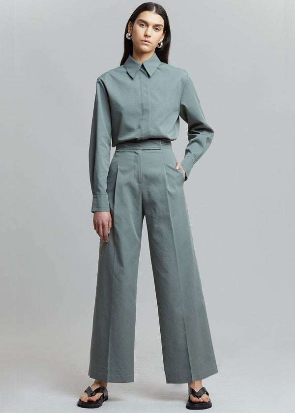 Liesl Wide Leg Trousers in Agave Green