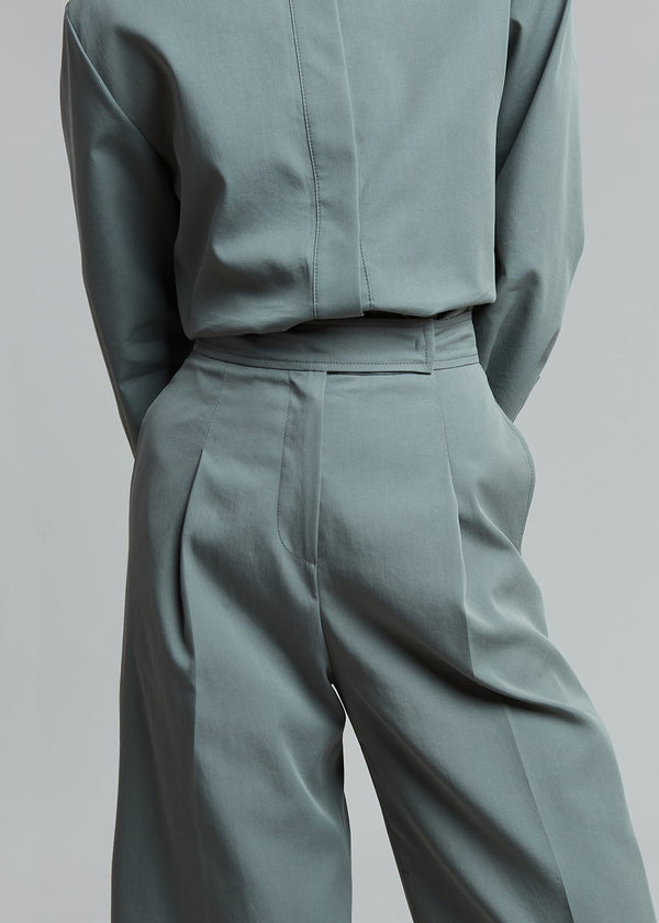 Liesl Wide Leg Trousers in Agave Green Pants The Frankie Shop