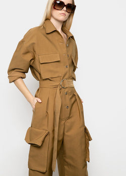 Linda Cargo Jumpsuit in Copper Brown Jumpsuit The Frankie Shop
