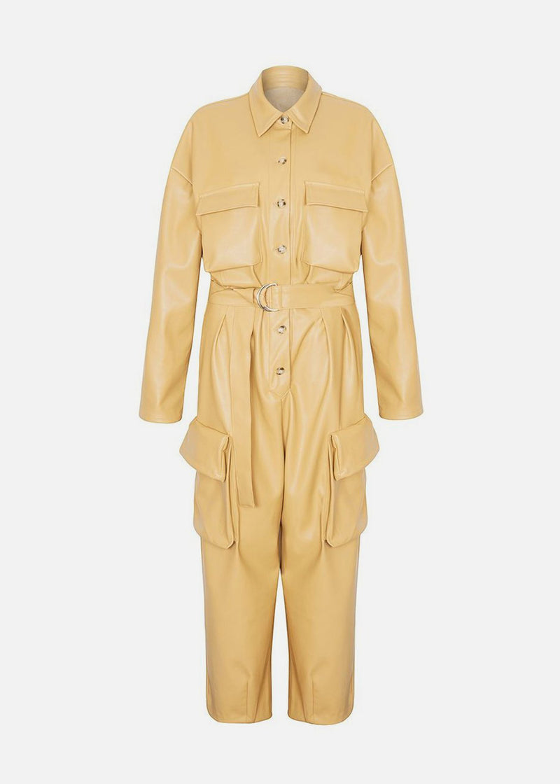 Linda Faux Leather Jumpsuit in Butter