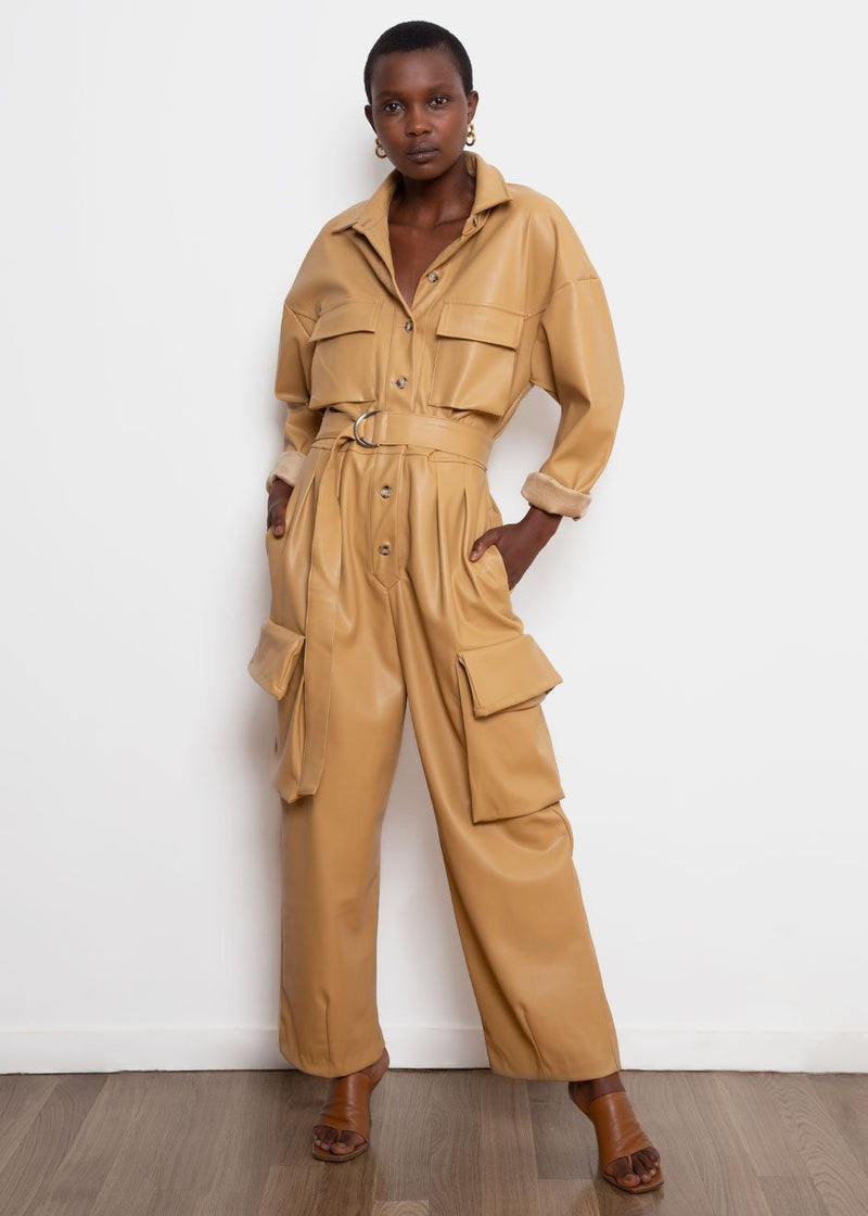 Linda Vegan Leather Jumpsuit in Butter Jumpsuit The Frankie Shop