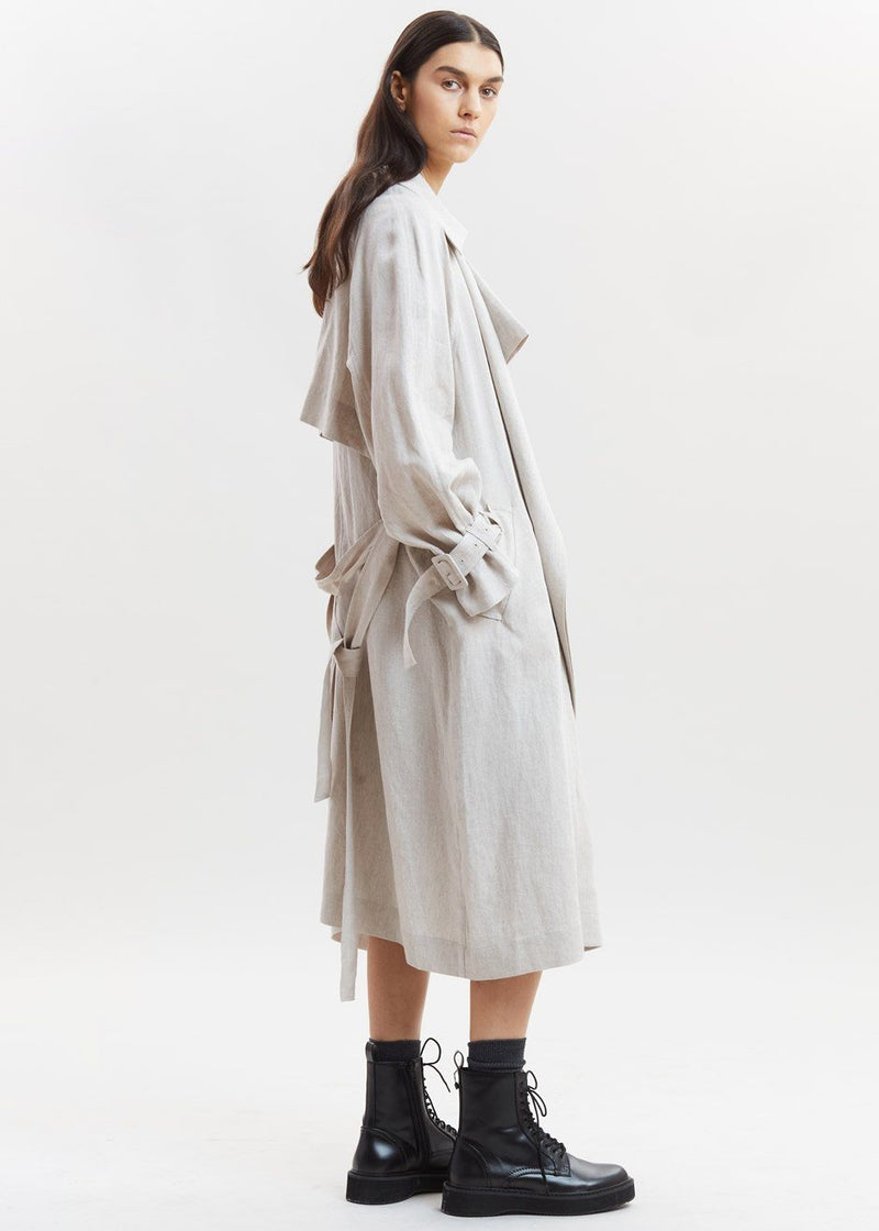 Linen Trench Coat by Low Classic in Beige Coat Low Classic