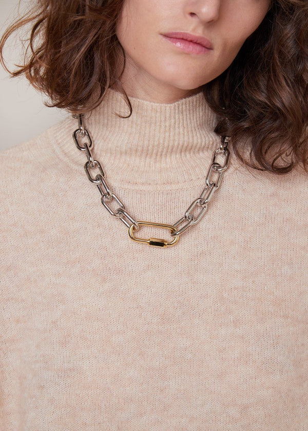 Link Chain Necklace in Silver/Gold Necklace Yellow Band