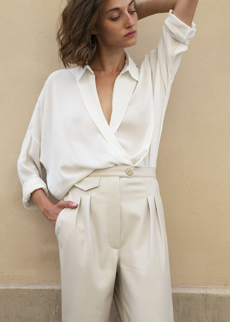 Long Sleeve Wrap Blouse in White Shirt Frankie